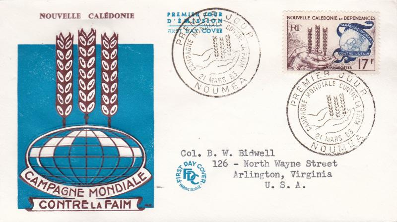 New Caledonia 1963 Scott 323   Food Agricultural Org Freedom From Hunger FDC