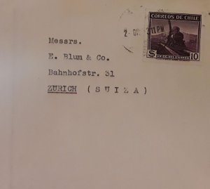 J) 1911 CHILE, RAILWAY, HIGH VALUE SINGLE RATE, CIRCULATED COVER, FROM CHILE TO