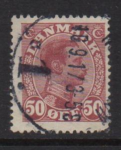 Denmark Sc 120 1913 50 ore claret Christian X stamp used