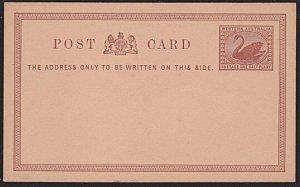 WESTERN AUSTRALIA 1½d Swan postcard very fine unused........................3898