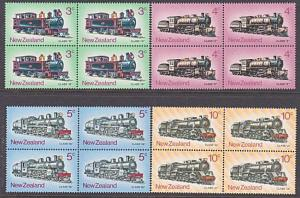 NEW ZEALAND 1973 Trains - Locomotives set blocks of 4 MNH...................3302
