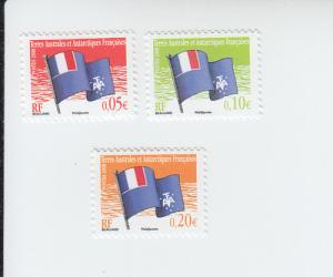 2008 FSAT French Antarctic Flag 5,10,20c (Scott 393-5) mnh