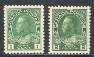Canada #104 and 107 XF H - with perfect centering