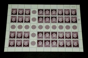 1966, ISRAEL, TOWN EMBLEMS ISSUE, SHEET/36, 0.12, MNH, NICE LQQK