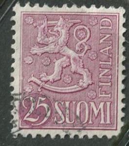 Finland - Scott 322 - Arms of Finland -1954- FU - Single 25m Stamp