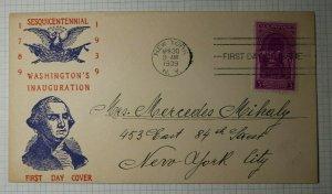 US FDC Sc# 854 Central Stamp Co Cachet NY NY 1939 Washingtons Inaugaration