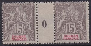 FRENCH SUDAN 1900 PEACE & COMMERCE 15C GUTTER PAIR