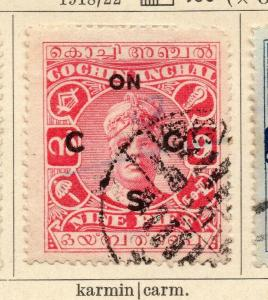 Cochin 1918-22 Early Issue Fine Used 9p. Optd 322450