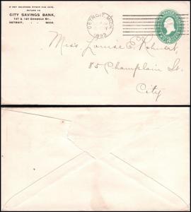 Goldpath: US postal stationery  1893, DETROIT, MICH.  _CV23_P6