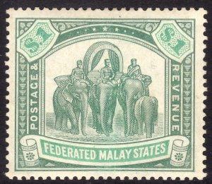 1907 Malaya $1.00 Elephant & Howdah MLMH Sc# 34 CV: $110.00 Wmk 3