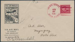PUERTO RICO FLIGHT 4/27/1925 USS LOS ANGELES ZEPPELIN SIGNED BY ROSENDAHL BS6084