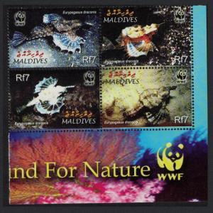 Maldives WWF Dragonfish 4v SE Block of 4 WWF Logo SG#3966-3969 MI#4407-4410