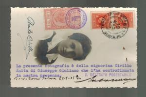 1935 Bari Italy  Postcard cover Photo of ANita Cirillo