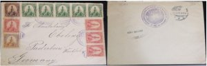 A) 1900, EL SALVADOR, FROM CHALATENANGO TO GERMANY, U.P.U, XF, MULTIPLE STAMP OF