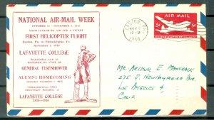 US 1946 HELICOPTER FLIGHT COVER..EASTON to PHILADELPHIA