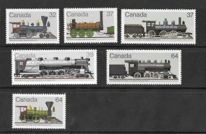 Canada Mint NH Lot of 6 Different Locomotives Stamps  Face Value $2.73