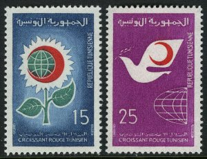 Tunisia 510-511, MI 703-704, MNH. Red Crescent Society. Flower, Globe, 1968