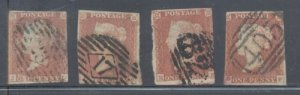 Great Britain Sc 3 1841 1d red brown Victoria stamp used 4 copies