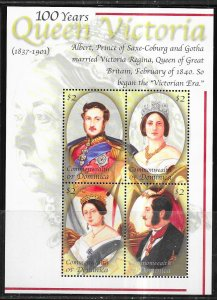 Dominica #2293  $2 Queen Victoria 100 years sheet of 4 (MNH)  CV $7.25