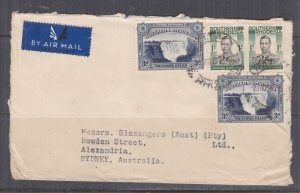SOUTHERN RHODESIA, 1947 Airmail cover to Australia, KGVI 1s.(2), Falls 3d. (2)