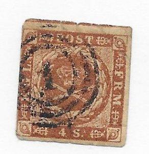 Danish #4 Corner Crease Used - Stamp - CAT VALUE $15.00