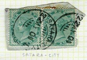 INDIA; POSTMARK fine used cancel on QV issue, Satara City PIECE