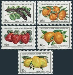 Turkish Cyprus 32-36,MNH.Michel 29-33. Fruits 1976.Ceratonia siliqua,Citrus,