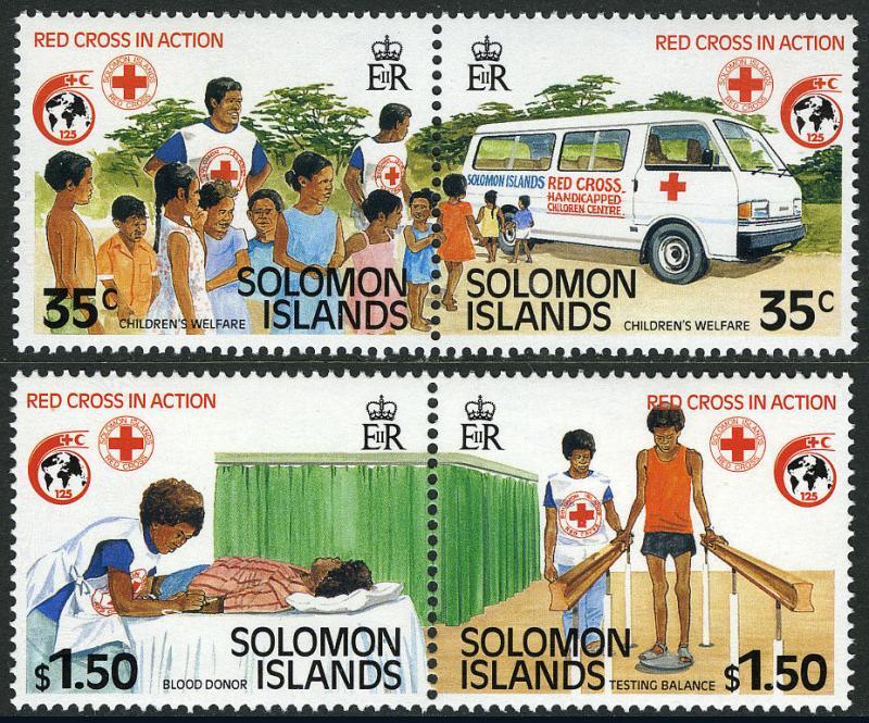 Solomon Islands 635-638a pairs, MI 700-703, MNH. Intl. Red Cross,125th ann. 1989