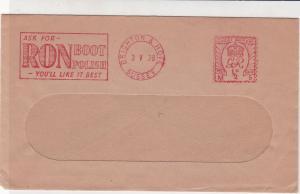 England 1938 RON Boot Polish Slogan Brighton Cancel Meter Mail Cover Ref 31826