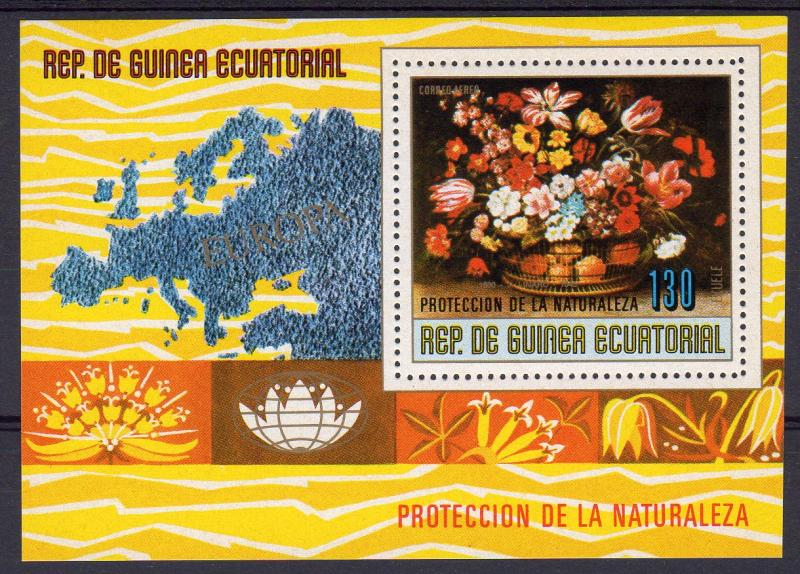 Equatorial Guinea 1977 Mi#Bl.275 Flowers by J.Linard/Map of Europa S/S Perf.MNH