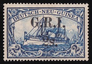 NEW GUINEA GRI 1914 GRI 2S on Yacht DNG 2Mk VARIETY LARGE S PHOTO CERTIFICATE