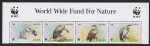Lesotho WWF Cape Vulture Birds Top Strip with WWF Logo SG#1378-1381 MI#1276-1279