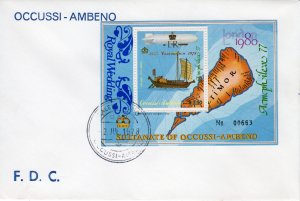 Timor (Ocussi-Ambeno) Ships-Zeppelin ovpt.Royal Wedding FDC
