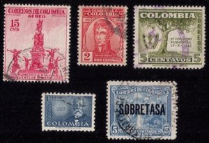 COLOMBIA Sc 576,588 Used (Lot Of 5 Each) F-VF
