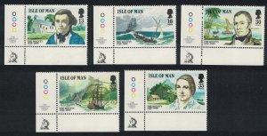 Isle of Man Bicentenary of the Munity on the Bounty 5v Corners SG#408=414