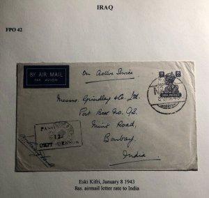 1943 Eski Kifri Iraq Indian Base Censored Airmail OAs Cover To Bombay India
