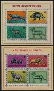 Guinea 517a,8a MNH Animals, Lions, Crocodile, Elephant, Wart Hog