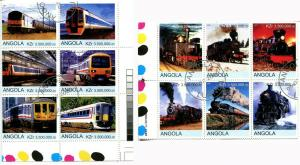 ANGOLA Trains 2 Blocks of 6 Cinderella Stamps Transportation Steam Locomotives