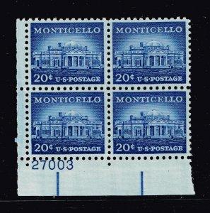 US STAMP # 1047 20c Liberty Series 1954-61  MNH PL# BLK OF 4