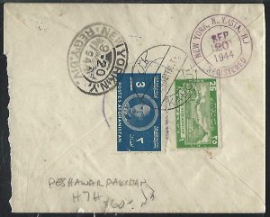 AFGHANISTAN (PP2408B)  1944   3AF+25P ON LETTER TO USA