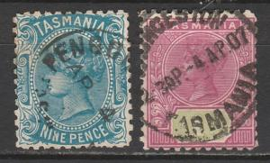 TASMANIA 1903 QV SET 9D AND 1/- WMK V/CROWN PERF 11 USED