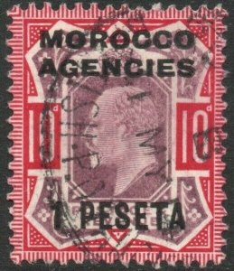 MOROCCO AGENCIES-1907-12 1p on 10d Dull Purple & Carmine Sg 120 FINE USED V46434