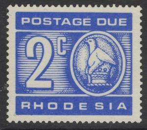 RHODESIA SGD19a 1970 2c POSTAGE DUE PRINTED ON GUMMED SIDE MNH