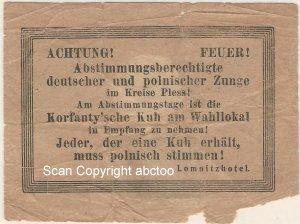 Poland Upper Silesian Plebiscite 20.3.1921 Canceled Item Seeking Polish Vote