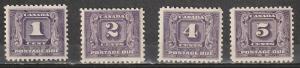 J6-J9 Canada Mint OGLH Postage Dues