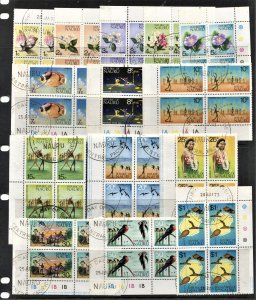 STAMP STATION PERTH Nauru #91-104 Definitive Set-Corner Blocks of 4-CTO CV$36.00
