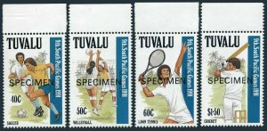 Tuvalu 574-577 SPECIMEN,MNH.Michel 595-598. Soccer,Volleyball,Tennis,Cricket.
