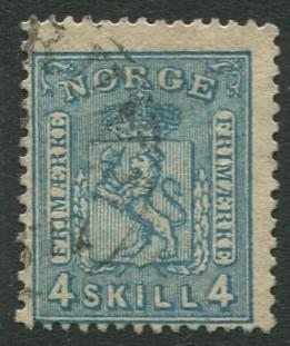 Norway - Scott 14 - Coat of Arms - 1867 - Used- Single 4s Stamp