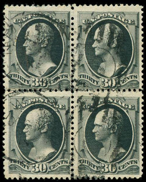 momen: US Stamps #190 Used Block of 4