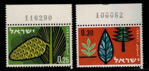 ISRAEL Scott 212-213 MNH** Forest Trees stamp set Plate Numbers, with out tabs